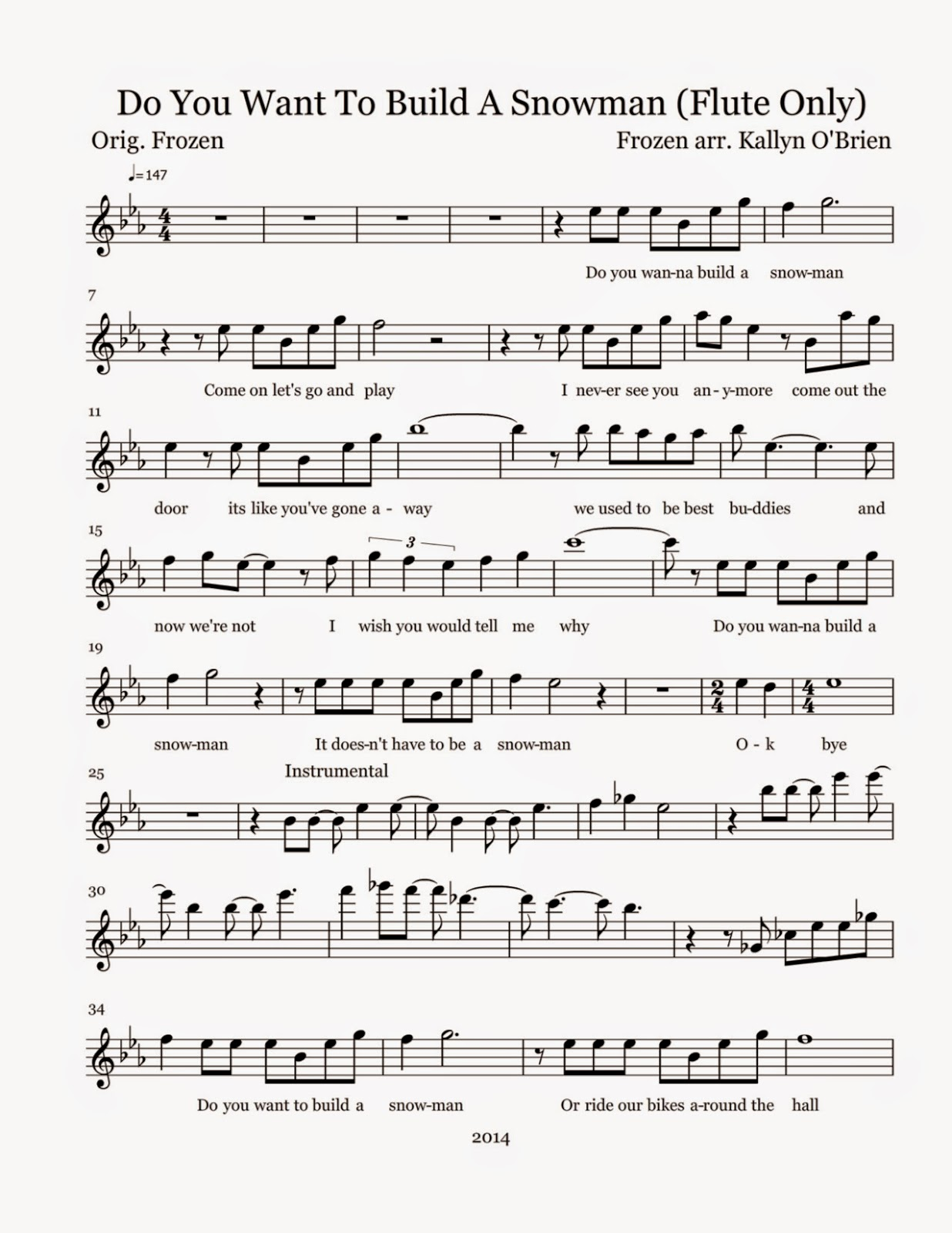 Flute sheet music do you want to build a snowman sheet for What do u need to build a house
