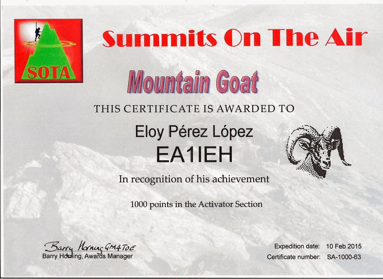 Summits On The Air  1000 puntos activador