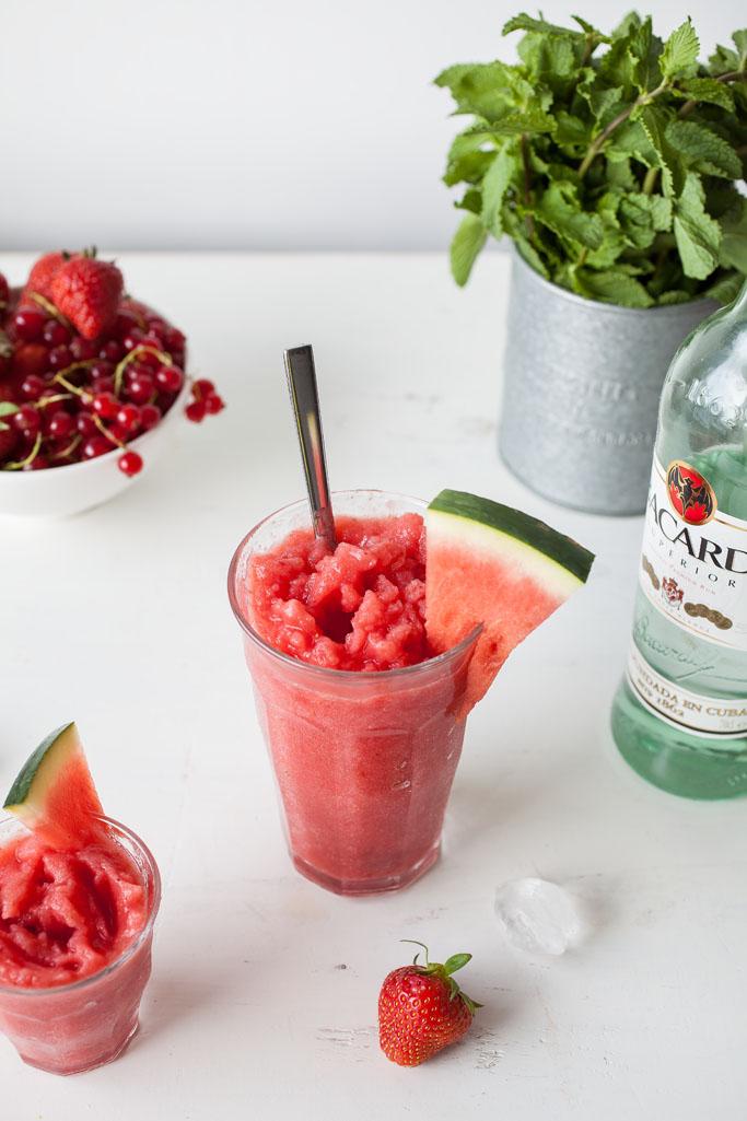Frozen Watermelon-Strawberry Daiquiri (two ways: alcoholic and non-alcoholic)