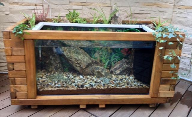 Penjing garden macetero con acuario for Estanterias para bonsais