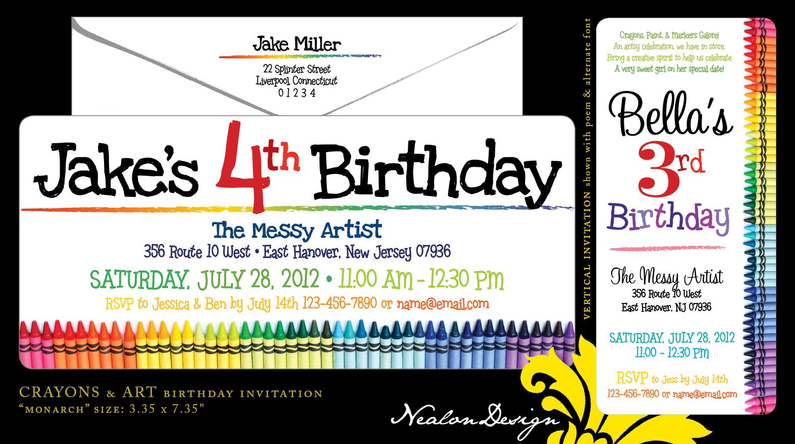 Nealon Design Crayons Art Birthday Invitation Jpg 1575x881 Four Year Old Invitations