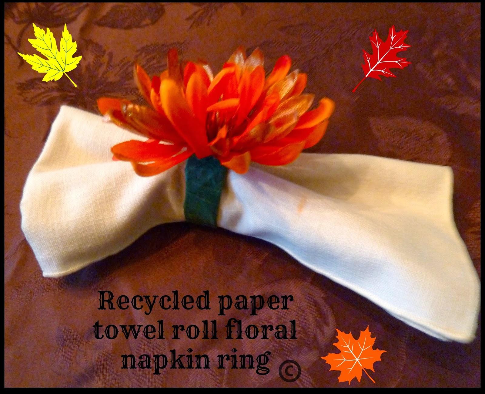 make it easy crafts thanksgiving recycled floral napkin ring. Black Bedroom Furniture Sets. Home Design Ideas