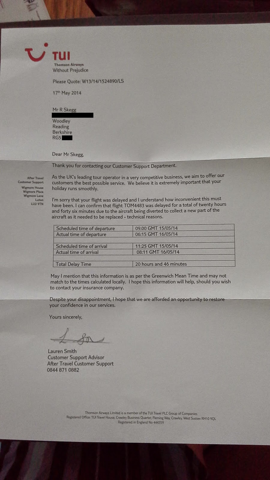 Tom4483 thomson airways delay majorca 15th may 2014 revised delay confirmation letter from thomson for insurance compensation claim flight tom4483 thomson airways complaint thomson tui thomson airlines thecheapjerseys Choice Image