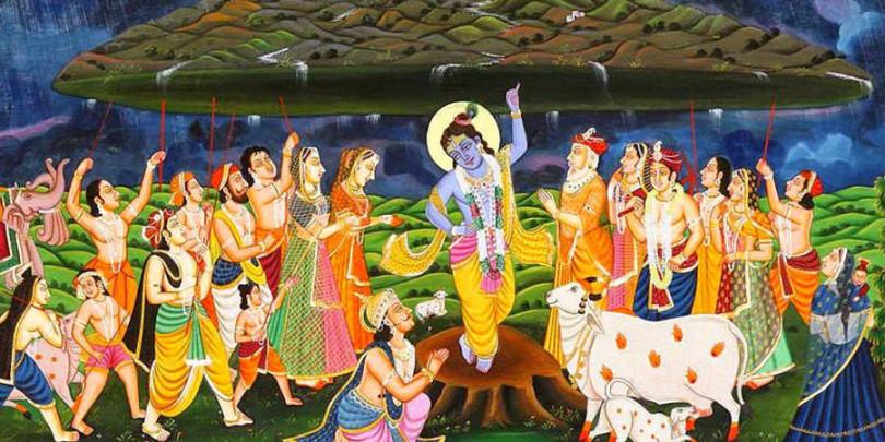 krishna with govardhan mountain