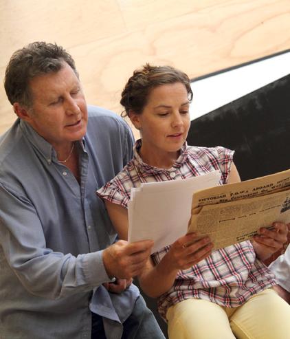 Sara Gleeson with Tony Martin in rehearsal