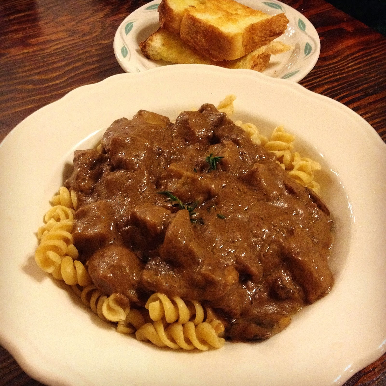 Seitan Stroganoff and House-made Garlic Bread Dinner Special at Heather's Restaurant Bay City, MIchigan