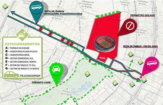 Saiba onde estacionar no Estádio Nacional de Brasília no dia da abertura da Copa das Confederações 2013