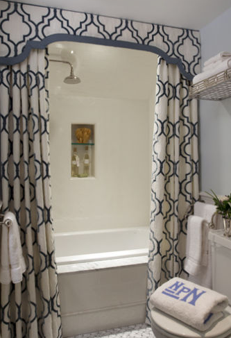 Designer Shower Curtain Ideas image of pretty designer shower curtains Split Curtained With A Valance Or Cornice I Love How It Looks Very Un Shower Curtain Ish More Like A Window Dressing
