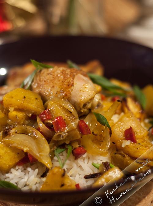 Ananas-Curry-Hähnchen aus dem Ofen
