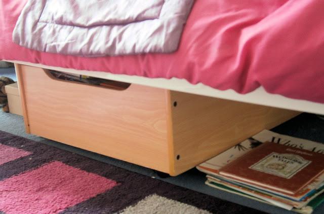 under bed wooden box storage girls room