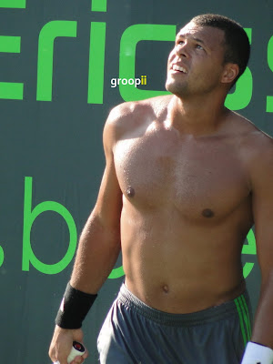Jo-Wilfried Tsonga Shirtless at Miami Open 2011