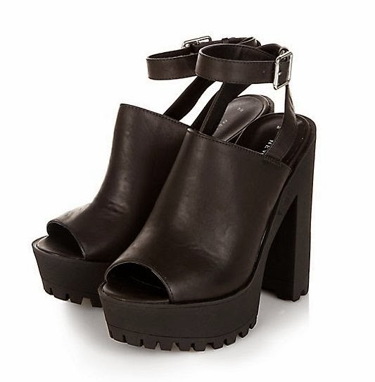 New Look Black Peeptoe Ankle Strap Chunky Heel Boots