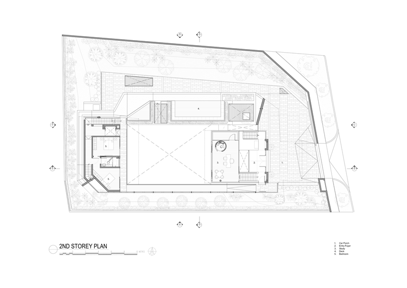 Second floor plan of an Impressive dream home in Singapore by a-dlab