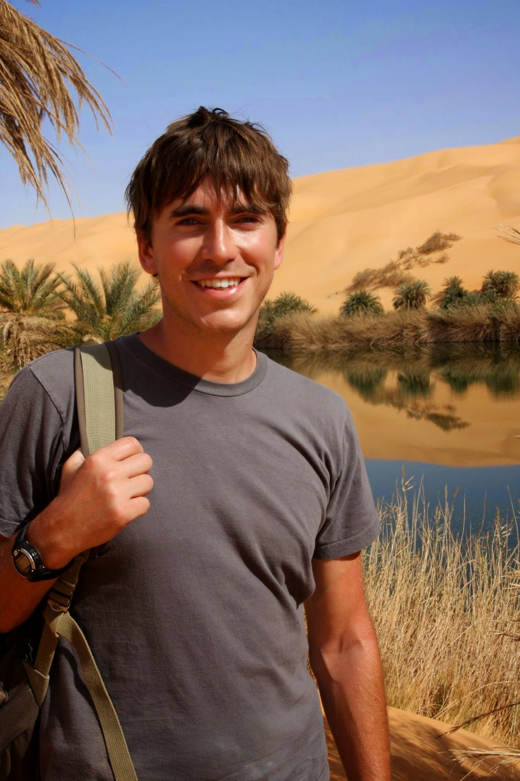 Simon Reeve smiling as usual, while travelling in Lybia