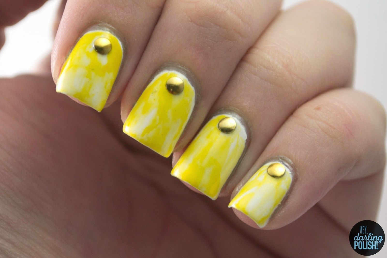 nails, nail art, nail polish, polish, yellow, hey darling polish, studs, golden oldie thursdays
