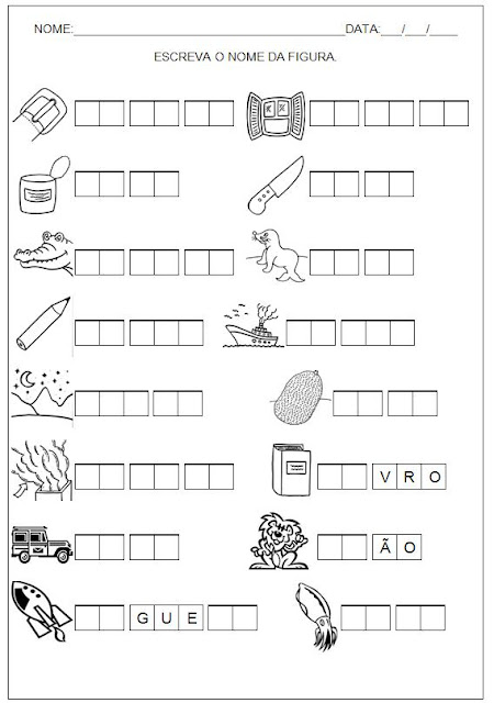 Hipótese de Escrita Silábica Alfabética - Escreva o nome da figura 1