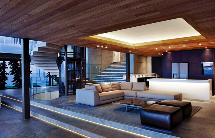 Open living room in Cove 3, modern dream home by SAOTA
