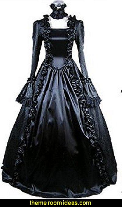 Gothic Lolita Victorian Cosplay Dress Black Long Sleeve