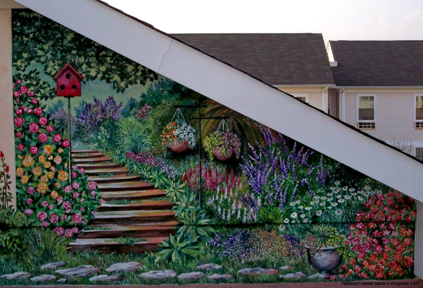 Wall murals for outdoor walls wallpaper free best hd for Mural garden