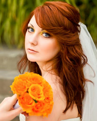 wedding hairstyles for long hair half up with veil