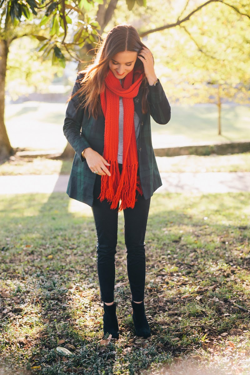 fall style, fall fashion, fall 2014, red scarf, plaid trench coat, loft trench coat, leather striped pants, motorcycle pants, leopard print booties, fall jackets, easy fall style, striped long sleeve top