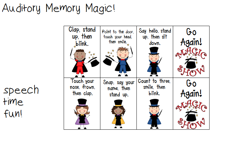 Printables Auditory Memory Worksheets auditory memory magic listening for details students will pick a card they hand the to teacherslppeer listen sentences and be provided with