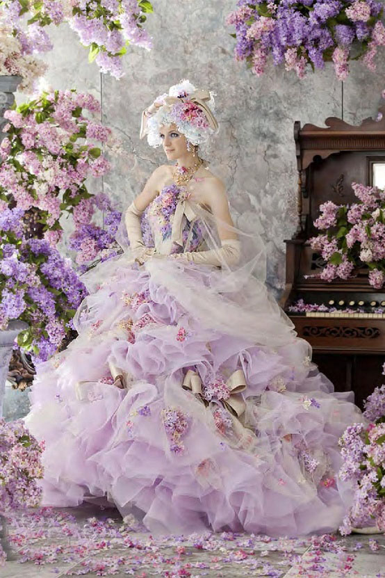 pink elegant rococo style palace wedding dresses