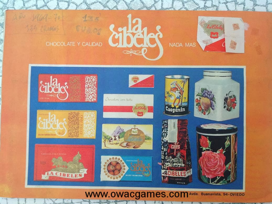 Contraportada 1969-70 Chocolates La Cibeles