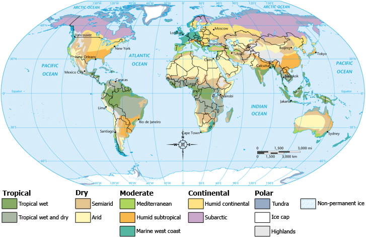 Global climate map