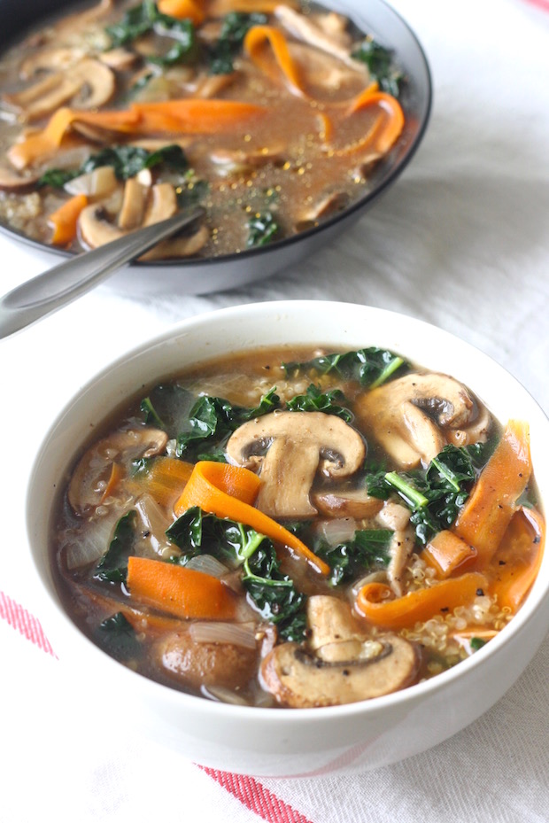 Five-Spice Quinoa Soup with Mushrooms & Kale by SeasonWithSpice.com