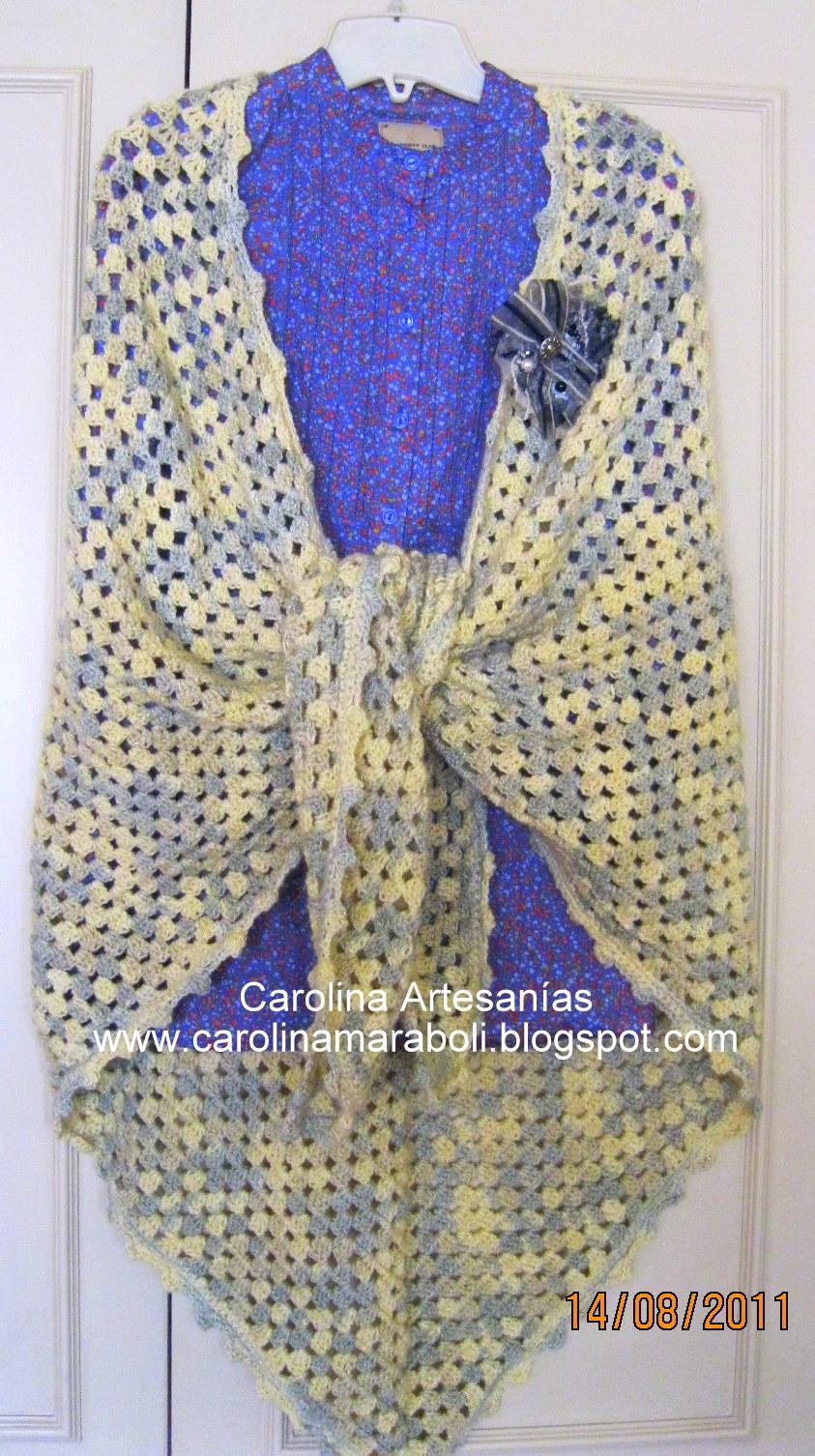 206.- Ruana o chal mujer, tejido a mano, crochet.