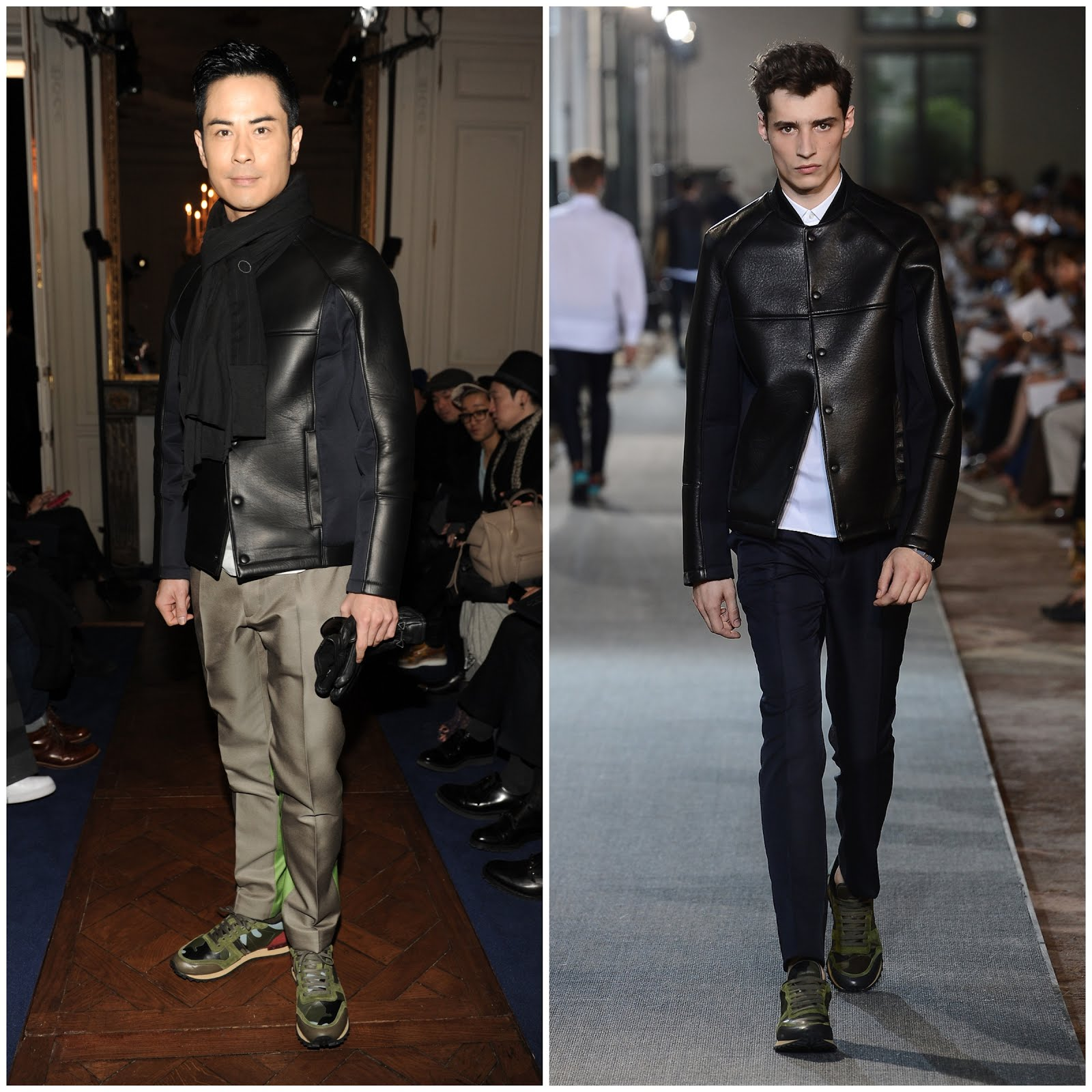 00O00 Menswear Blog Kevin Cheng [郑嘉颖] in Valentino - Valentino Menswear Fall Winter 2013, Paris. Kevin Cheng [郑嘉颖] wore Valentino menswear Spring Summer 2013 camouflauge sneakers available from MatchesFashion.com