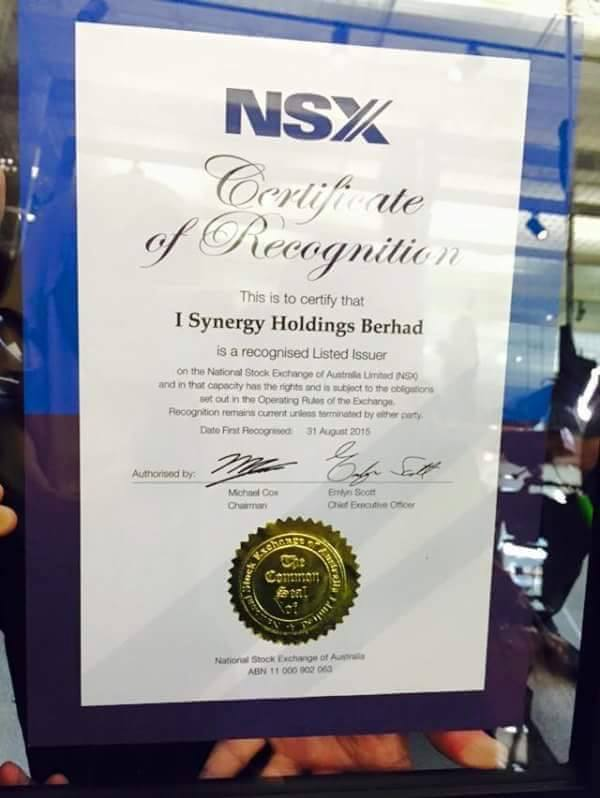 I SYNERGY HOLDING BERHAD LISTED AT NATIONAL STOCK EXCHANGE of AUSTRALIA