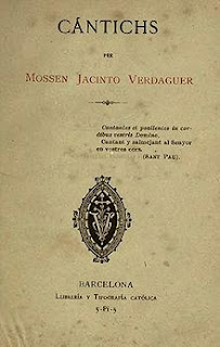 Portada de Cántichs (Mossen Jacinto Verdaguer)
