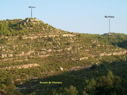 La vall del Torrent de Filomera des de la pujada al primer control