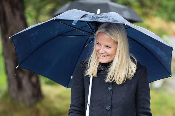 Crown Prince Haakon of Norway and Crown Princess Mette-Marit of Norway arrive in Kolbotn