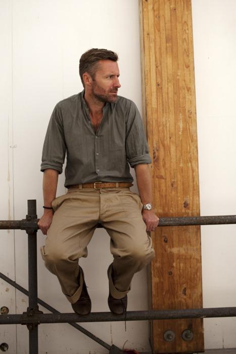 thinctank grey shirt and khaki pant