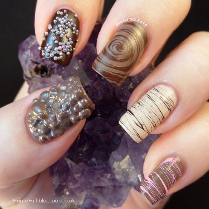 Box of Chocolate assortment nail art skittles