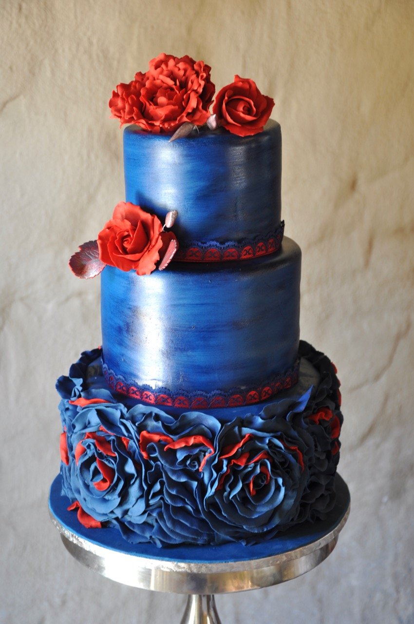 Rozanne S Cakes Royal Blue And Bright Red Fondant Ruffle Wedding Cake