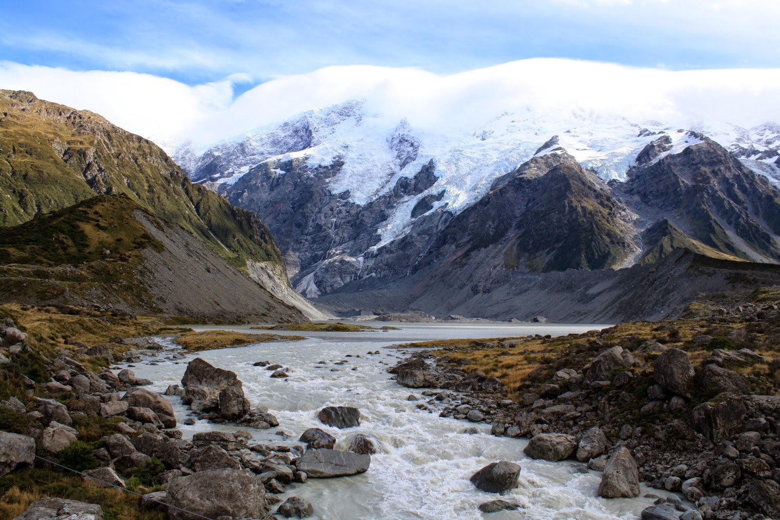 There's a river, with some stones, and a glacier.