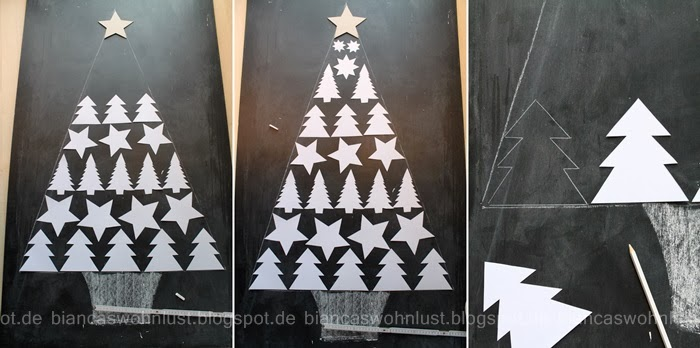 Diy navidad pintar el rbol en un tablero pizarra - Como hacer un arbol de papel grande ...