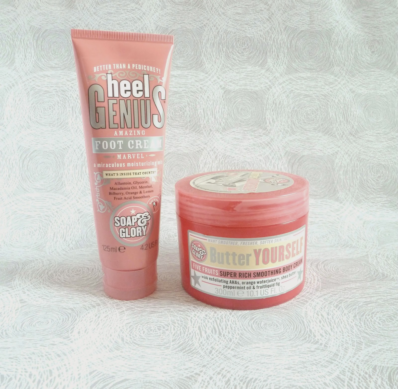 Soap&glory products - heel genius foot cream and butter yourself body cream
