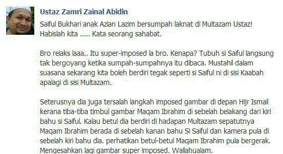 komen Ustaz Zamri zainal abidin pasal sumpah liwat saiful