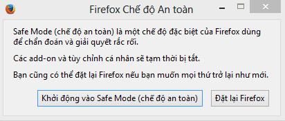 Cách vào safe mode trên trình duyệt firefox