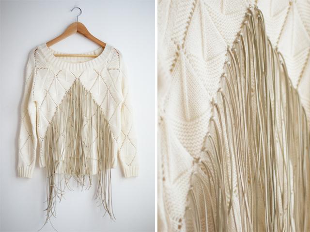 fringed knit top DIY