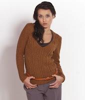 Pulover tricotat de culoare maro ( )
