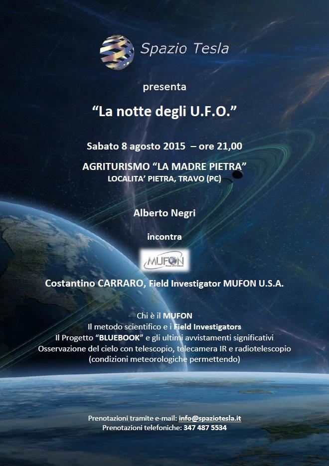SPAZIO TESLA PRESENTA: LA NOTTE DEGLI UFO