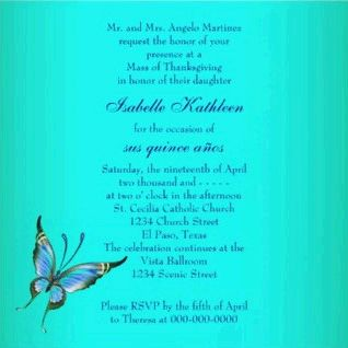 Invitations with Butterflies for your fifteen Party