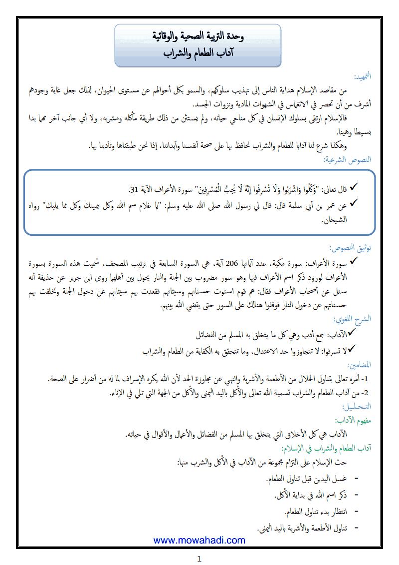 اداب الطعام و الشراب في الاسلام