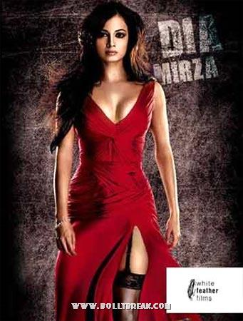 Dia Mirza in Acid Factory poster in Red gown - Bollywood heroines red gown pics